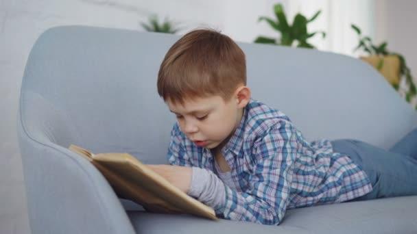 Roztomilý chlapeček v neformálním oblečení je čtení vtipné knihy nahlas ležící na pohodlné pohovce a směje se. Šťastné dětství, předškolní vzdělávání a hobby koncepce
