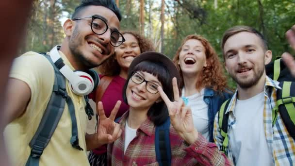 POV of happy friends taking selfie in forest posing with hand gestures having fun