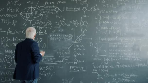 Intelligent professor working at project in college writing formulas on chalkboard wall