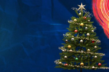 Decorated Christmas Tree on Blue Background with Copy Space