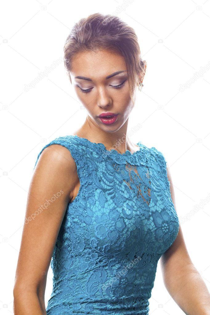 Hermosa Mujer Morena Con Vestido Azul Turquesa Foto De