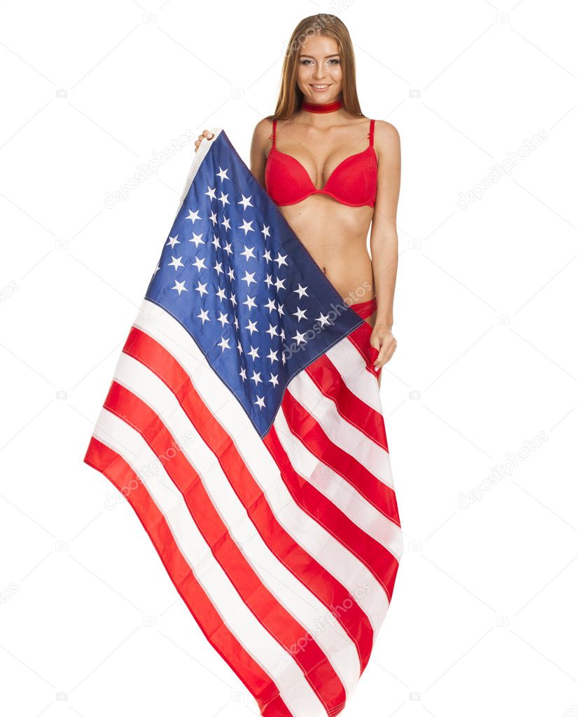 Estados En Bandera Bikini De Chica Con La Unidos Hermosa edCxBo