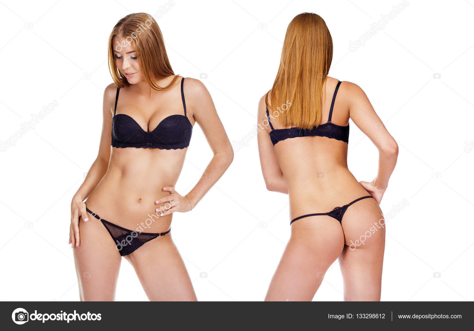 2f938d1b86 Ritratto di giovane donna che indossa biancheria intima nera — Foto ...