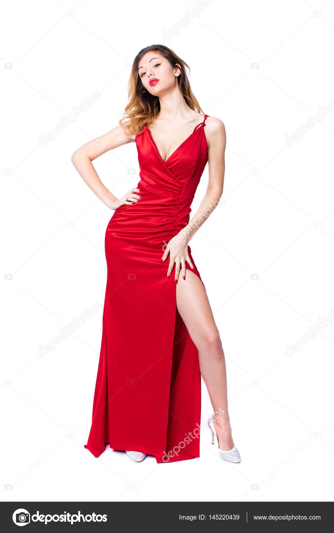 Junge schöne glückliche blonde Frau im roten Kleid — Stockfoto ...