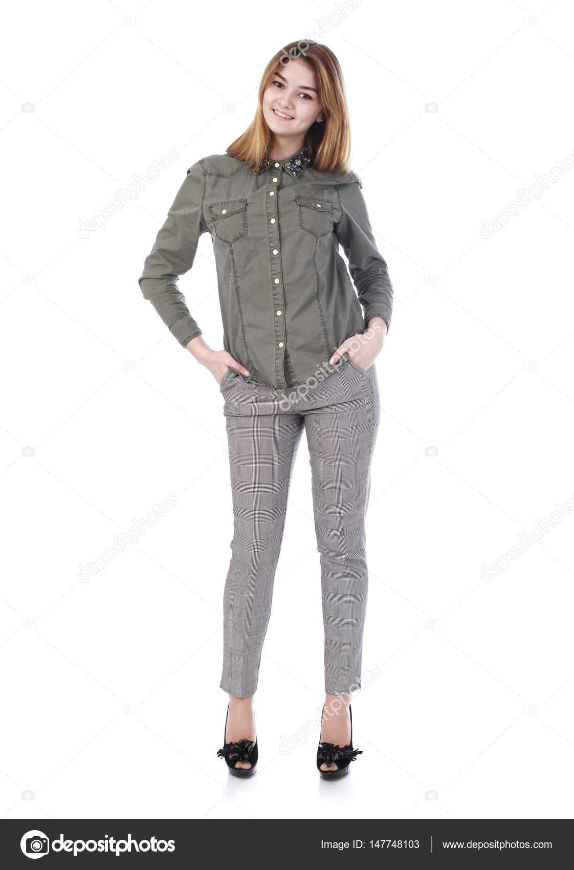 Junge Schöne Blonde Frau In Graue Hose Stockfoto Arkusha 147748103