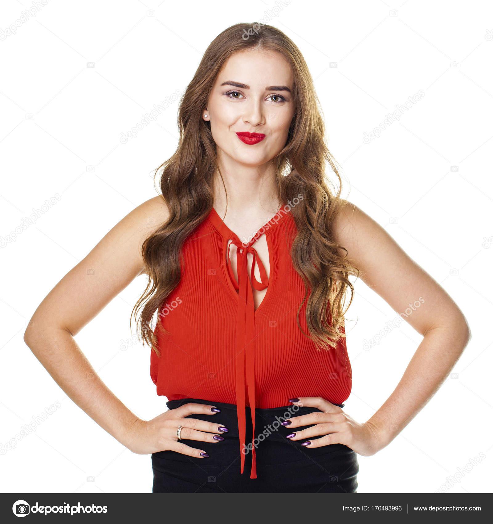 52496e485352 Πορτρέτο του μια νεαρή όμορφη γυναίκα σε μια κόκκινη μπλούζα — Φωτογραφία  Αρχείου