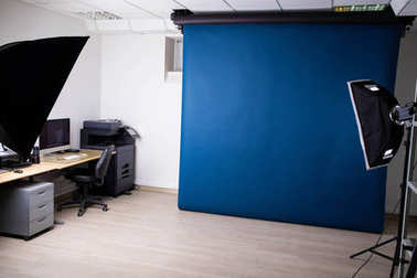 Photo studio setup with lighting equipment