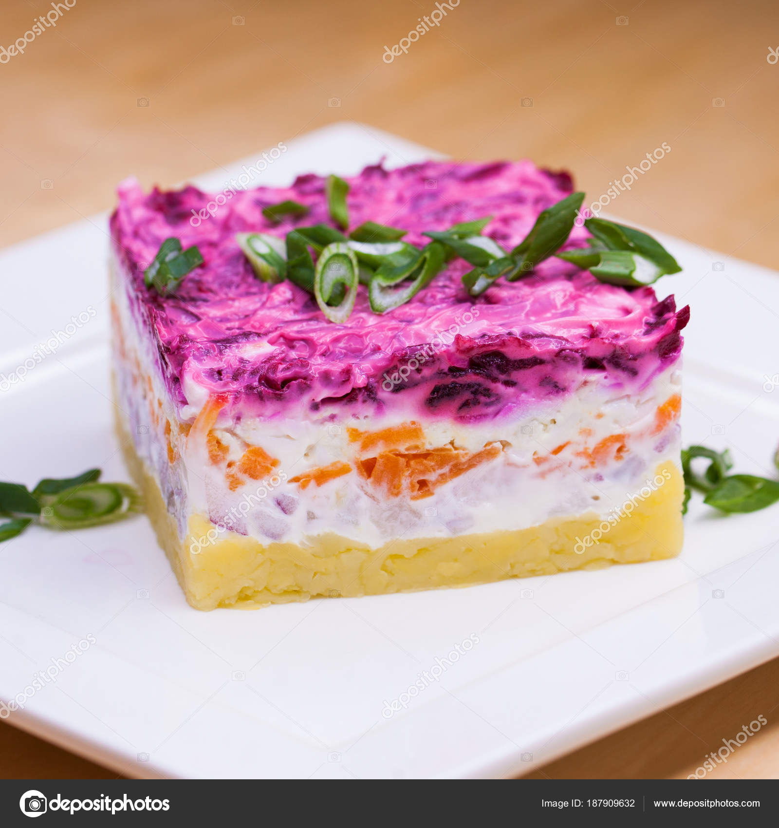Russian Food Holiday Herring Salad With Vegetables Close Up On