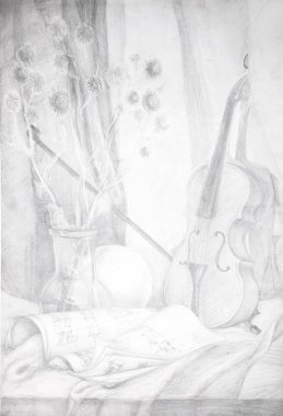 Pencil drawing of a violin and notes
