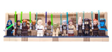 RUSSIA, SAMARA, FEBRUARY 15, 2020 - Lego Star Wars Minifigures Constructor, various Jedi and lightsabers
