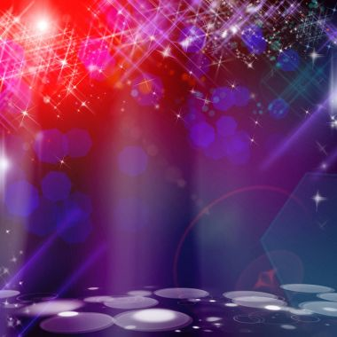 New year template with lot of bright stars and bokeh in red, blue and purple