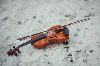 The violin on snowy ground