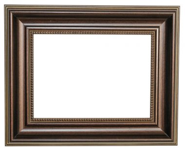 Brown photo frame. Isolated object on a white background.