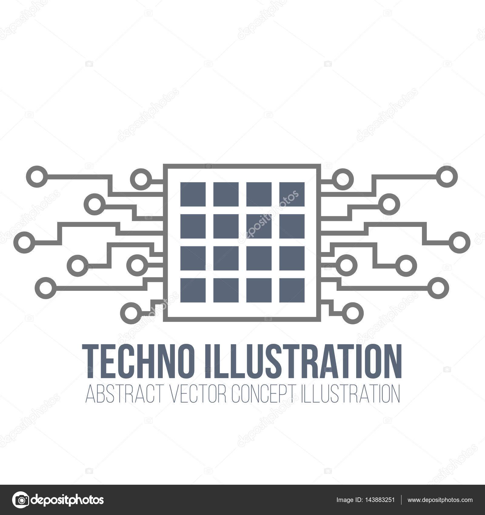 Vecteur de circuit imprimé sur fond blanc. Processeur et puce ...