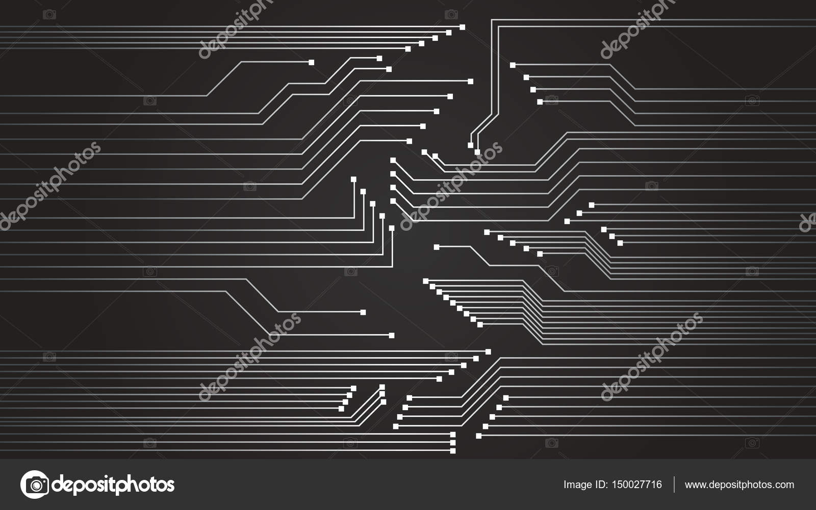 Motherboard Circuit Illustration: High Tech Circuit Board Vector Background. Vector