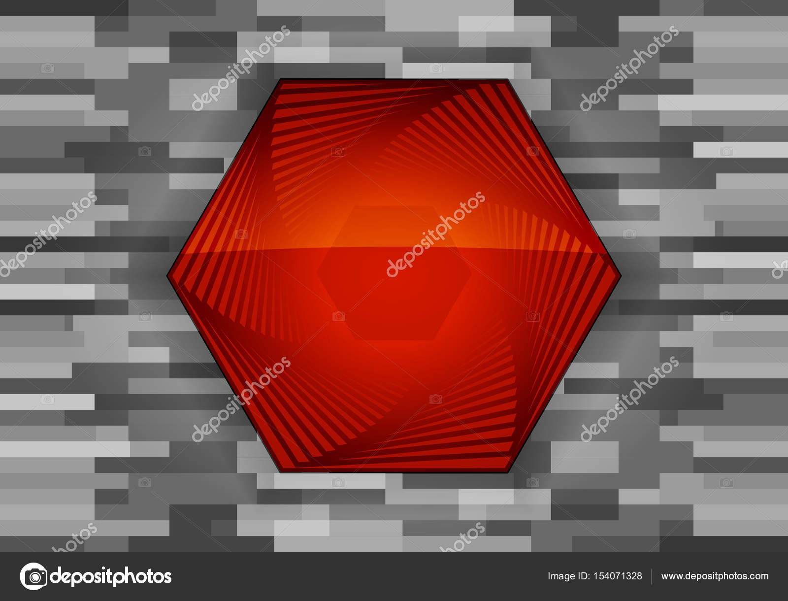 Red hexagonal banner with layers  Button on dark techno
