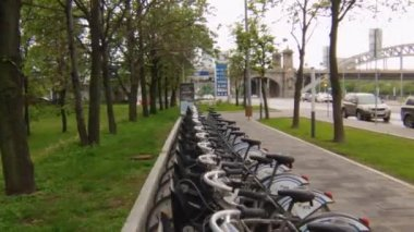 Large number of parked bicycle for rent in the city, public transportation