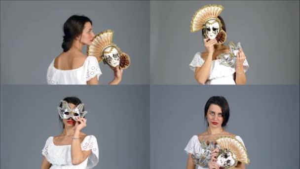 Krásná tajemná dívka s benátské masky. Koláž