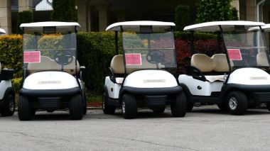 Group of golf cars in front of Aglalrov estate golf club.