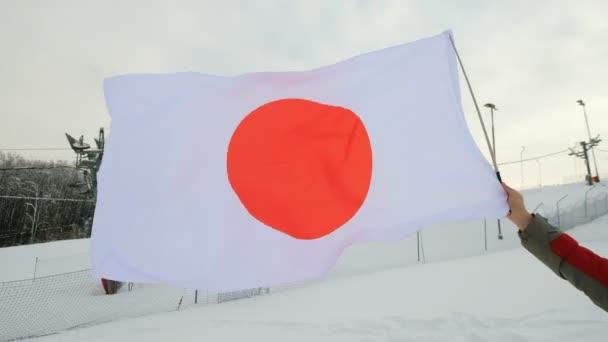 Nationalflagge Japans weht im Wind