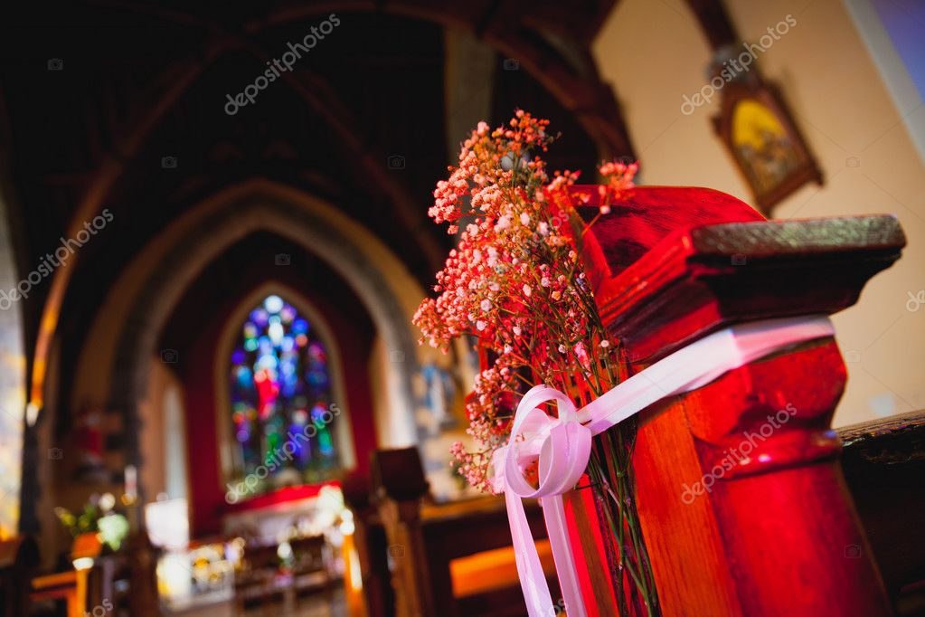 Catholic church with wedding decorations stock photo rihardzz catholic church interior with wedding decorations detail photo by rihardzz junglespirit Image collections
