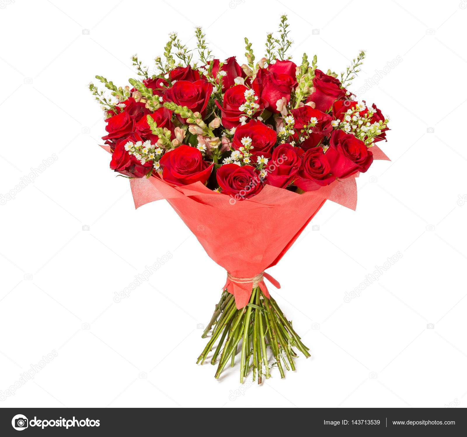 Colorful flower bouquet from red roses on white background — Stock ...