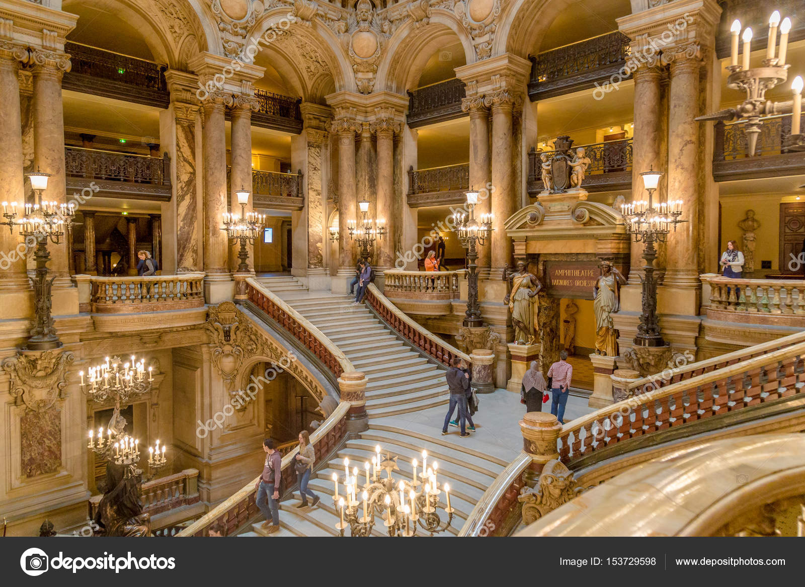 interior view photography. Paris, France, March 31 2017: Interior View Of The Opera National De Paris Photography
