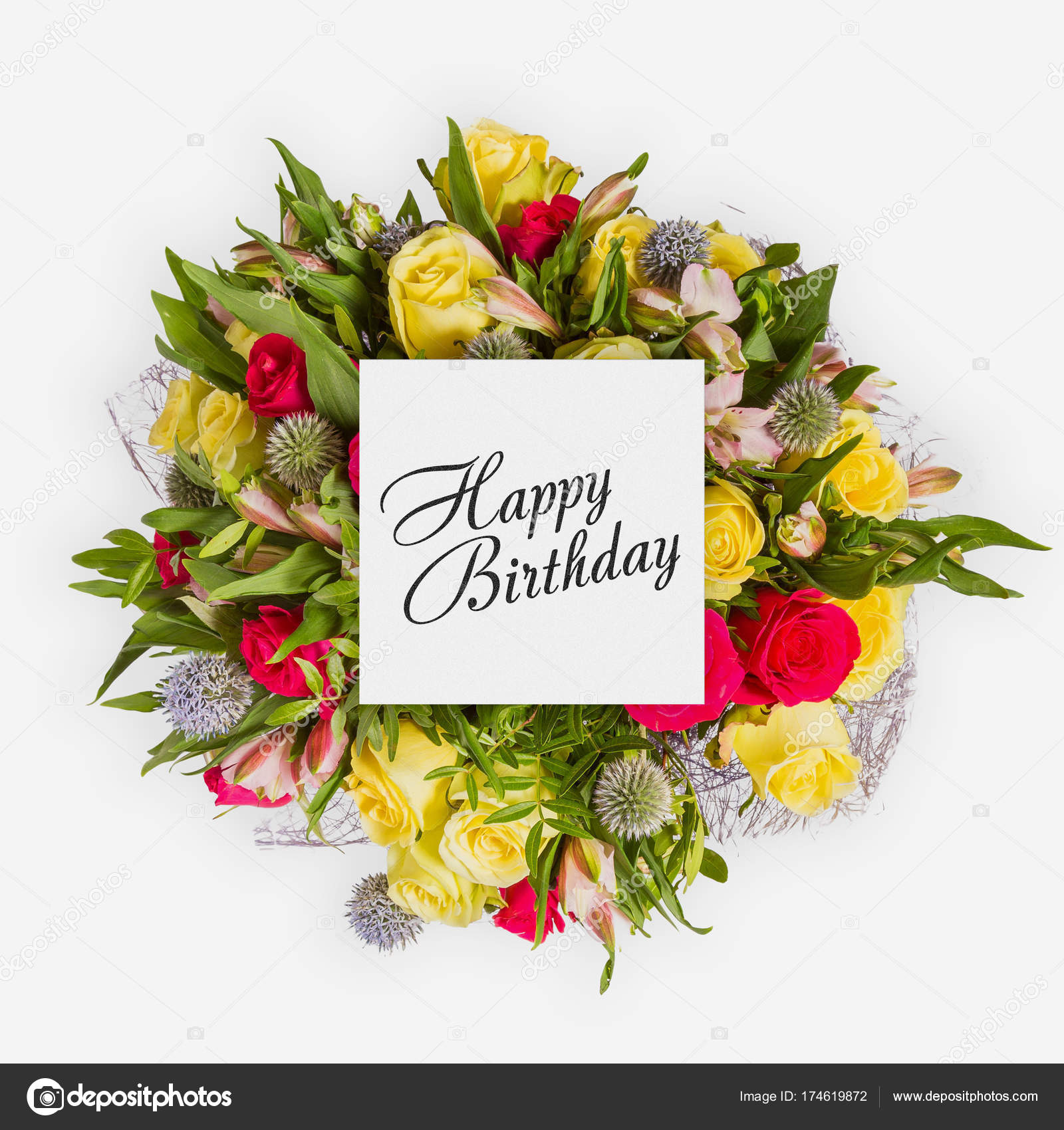 Happy birthday card with flowers flat lay stock photo gilmanshin happy birthday card with flowers flat lay stock photo izmirmasajfo Image collections