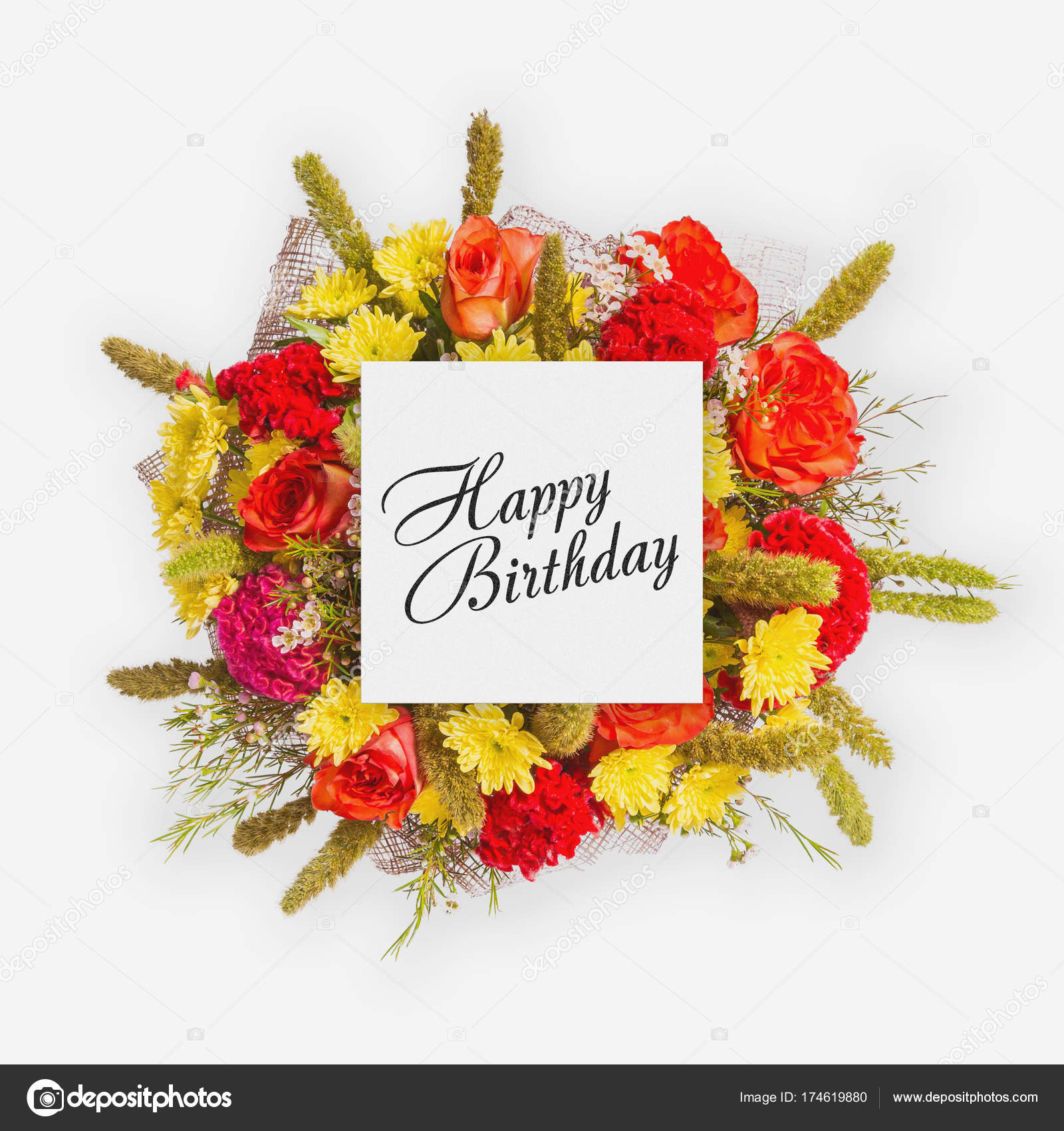 Happy Birthday Card With Flowers Flat Lay Stock Photo Gilmanshin