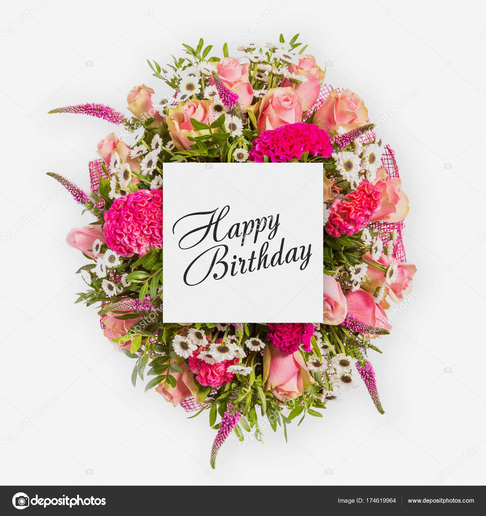Happy birthday card with flowers flat lay stock photo gilmanshin happy birthday card with flowers flat lay stock photo izmirmasajfo