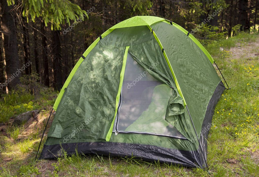 Touristic tent in forest