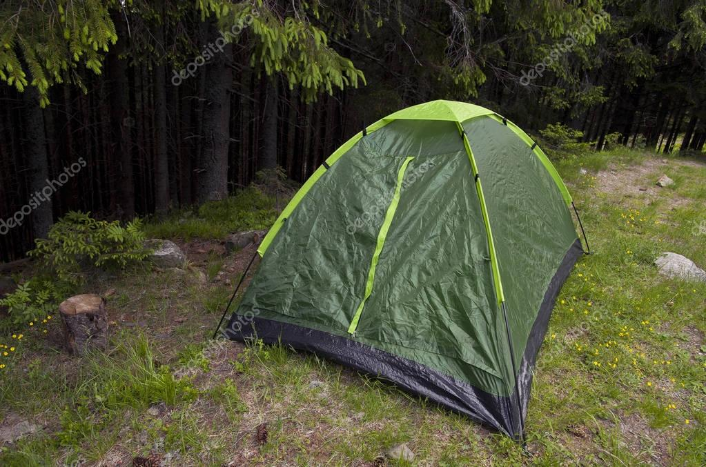 Touristic tent in the forest