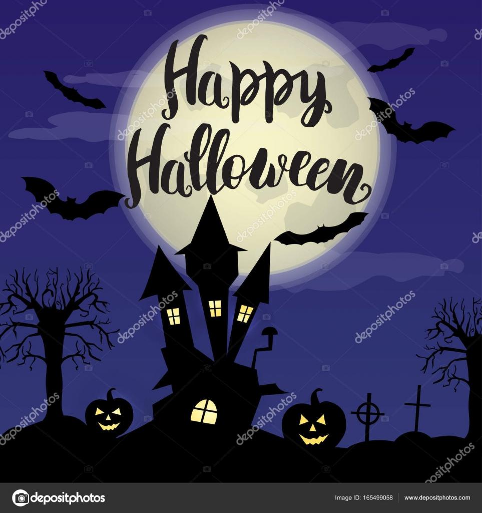 Halloween Karta Mesic Stary Dum A Stromy Stock Vektor