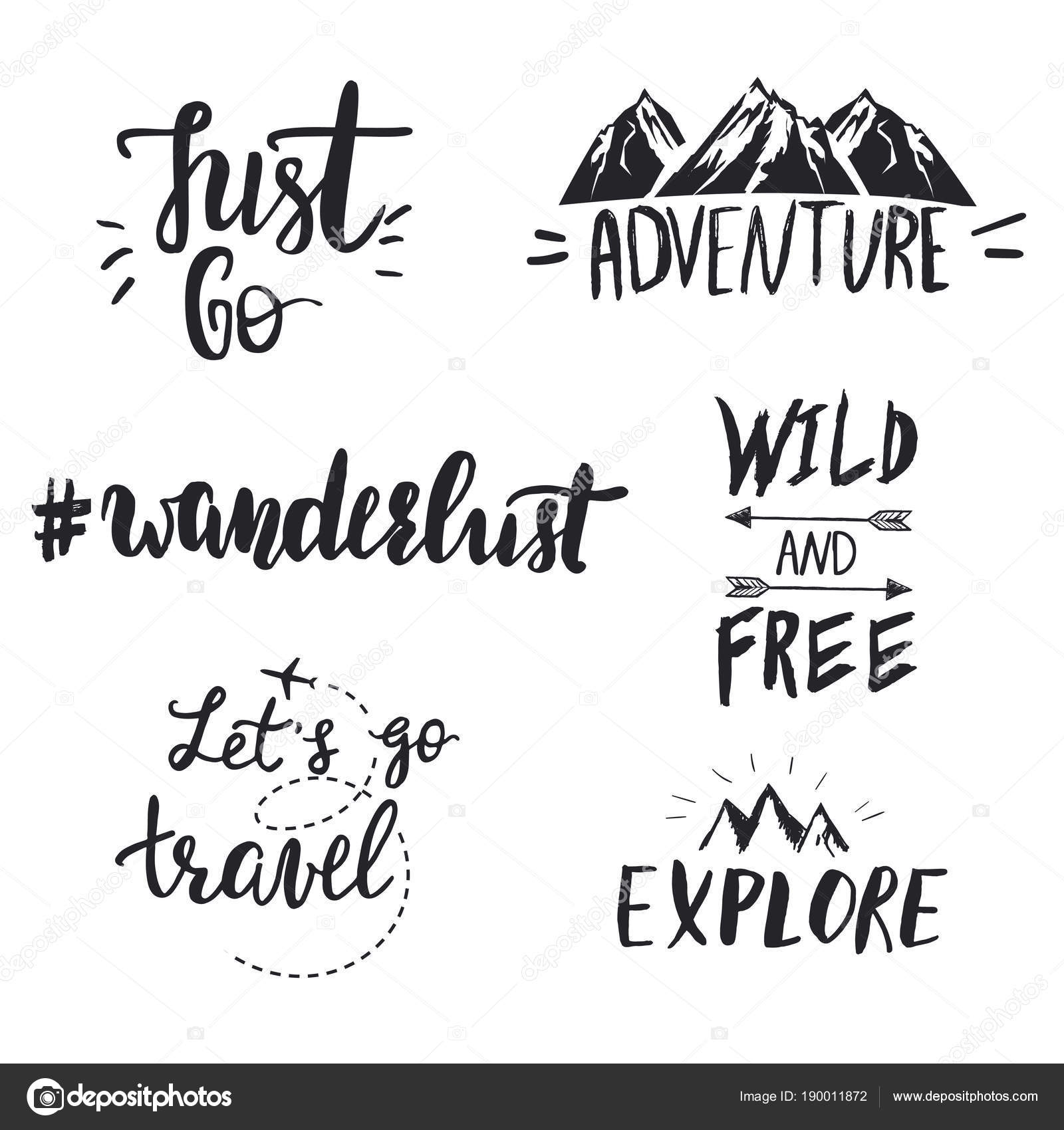 Set Of Motivational Travel Quotes Stock Vector