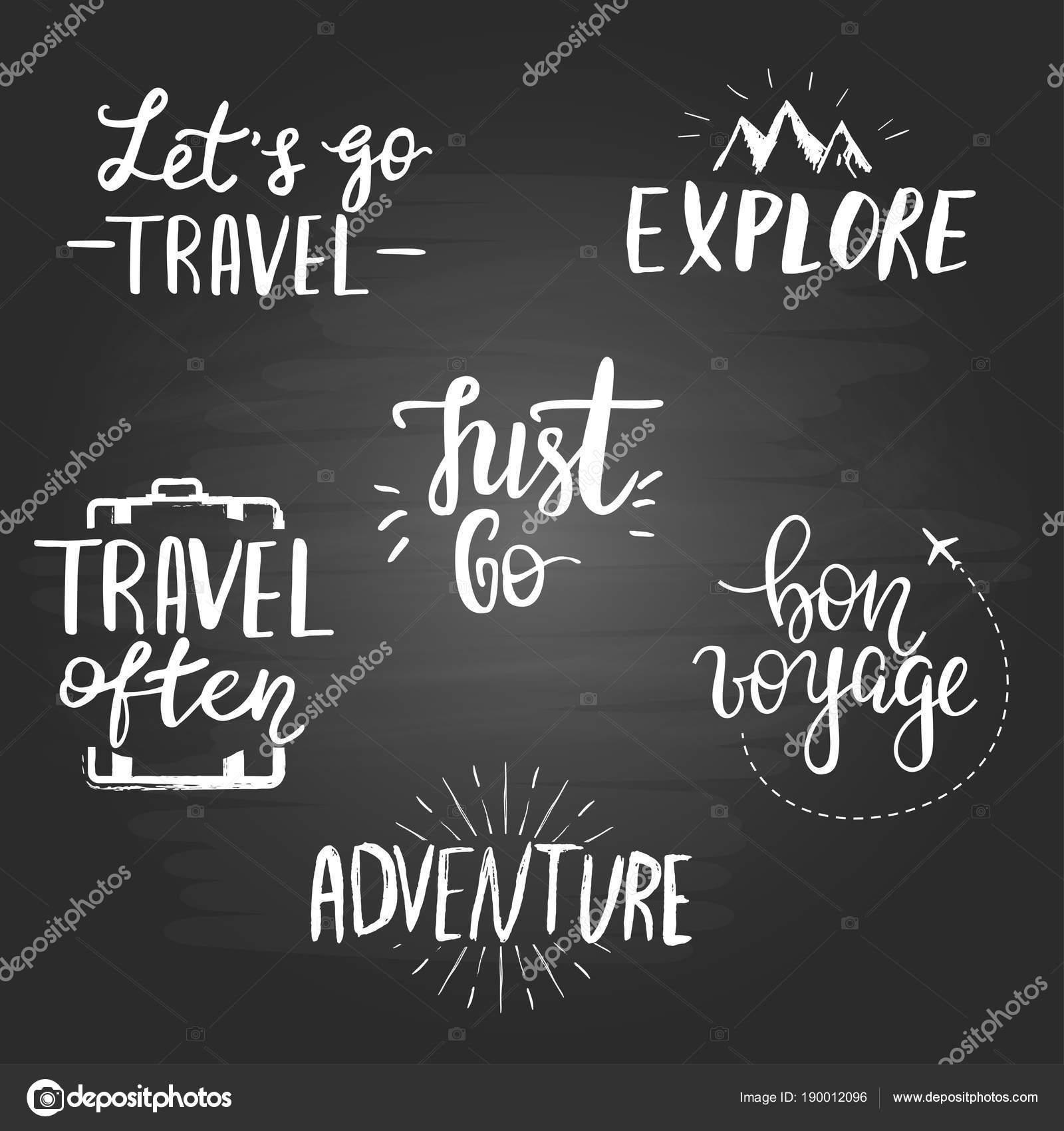 Zestaw Podróży Inspirujące Cytaty Na Tle Tablica Grafika
