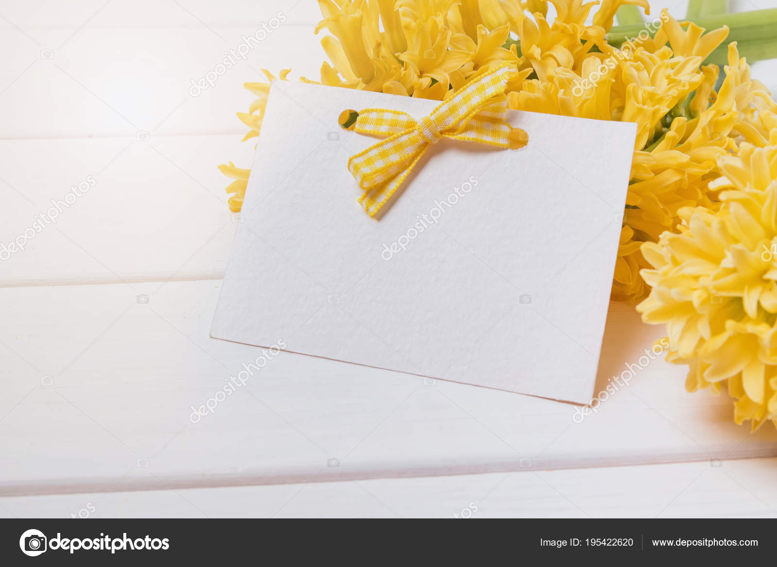 Blank Greeting Card Template On The Yellow Hyacinth Flowers Stock