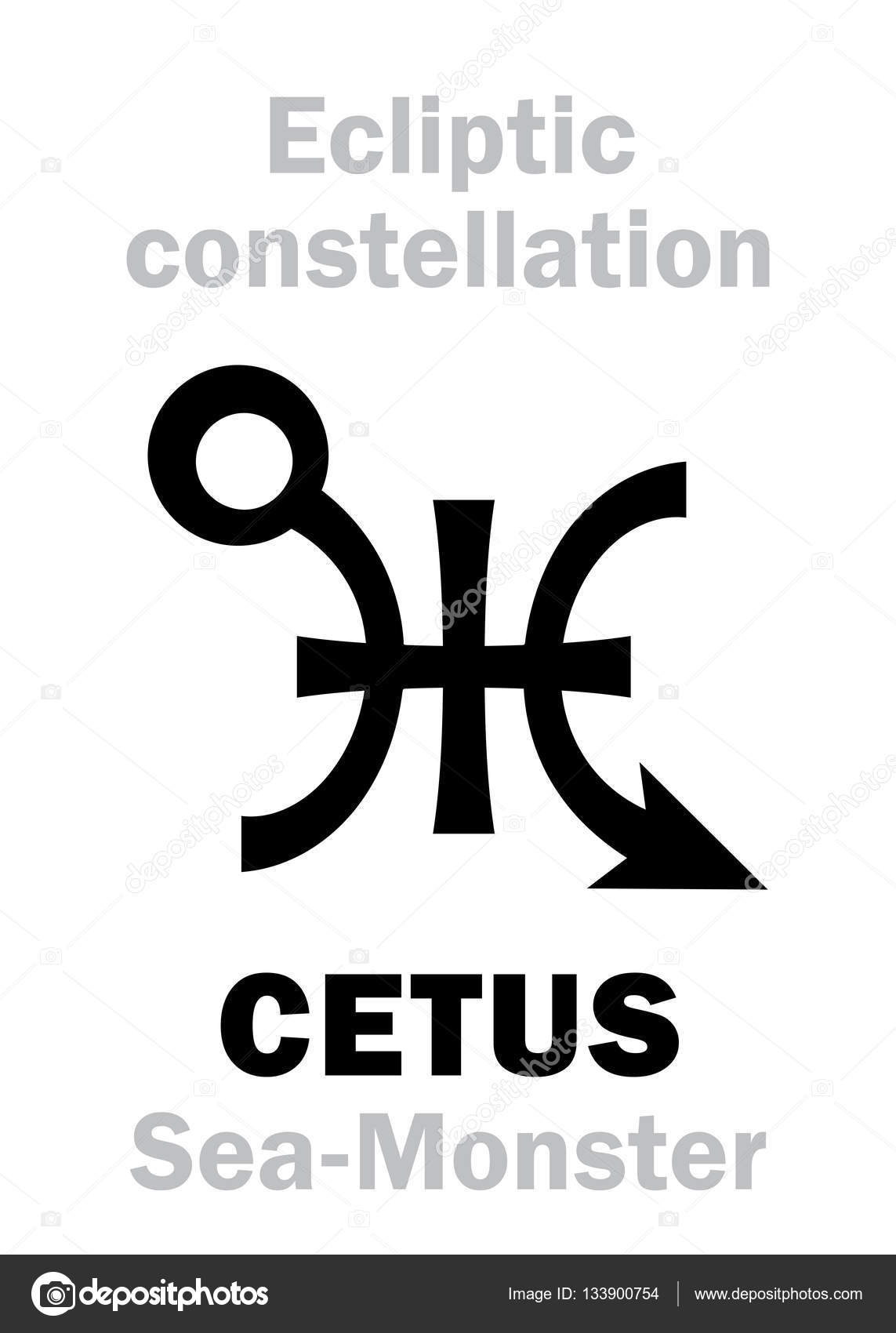 Astrology Sign Of Constellation Cetus The Sea Monster Stock