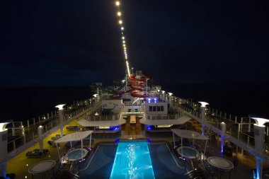 NORWEGIAN GETAWAY, USA - DESEMBER 31, 2017: The upper deck with