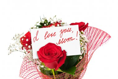 Roses bouquet and card for Mother