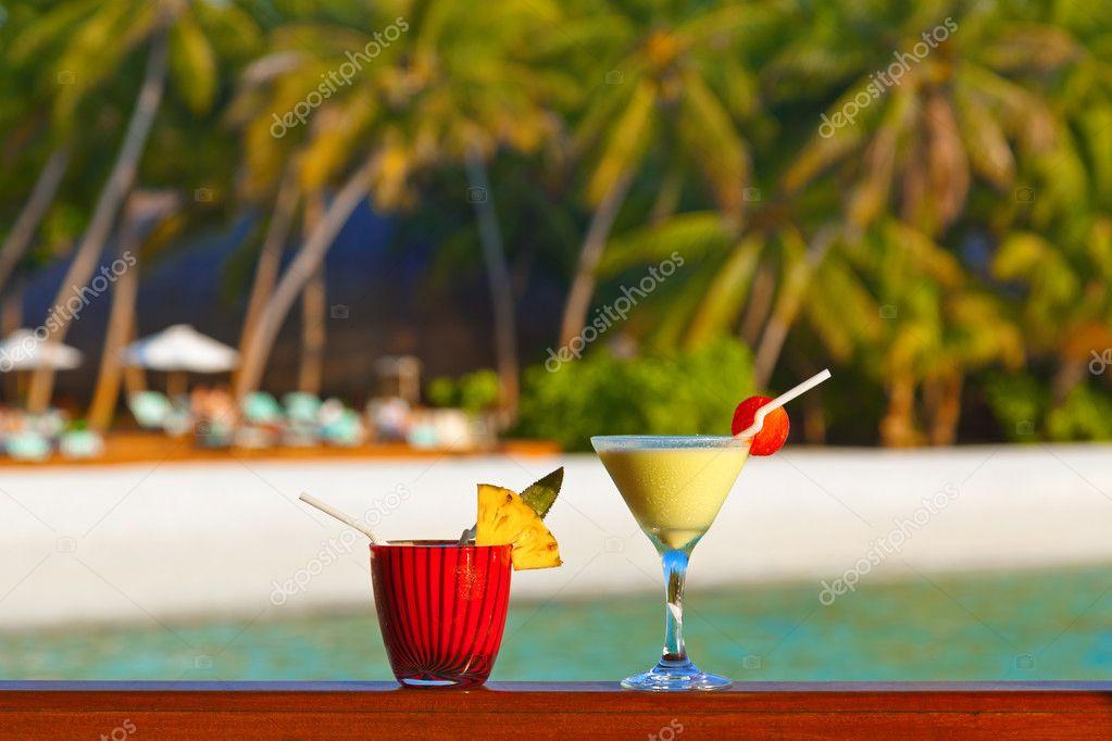 Fruit cocktail on Maldives beach