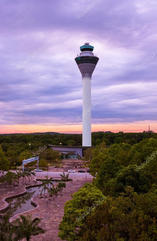 Flight control tower in Airport at Kuala Lumpur (Malaysia)