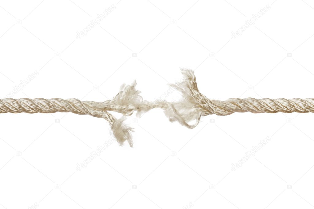 Breaking rope isolated on white background — Stock Photo