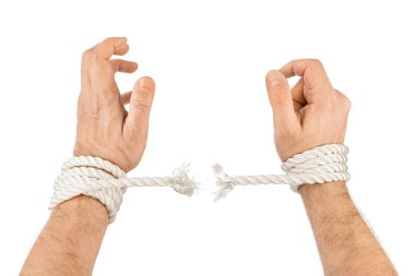 Hands and breaking rope