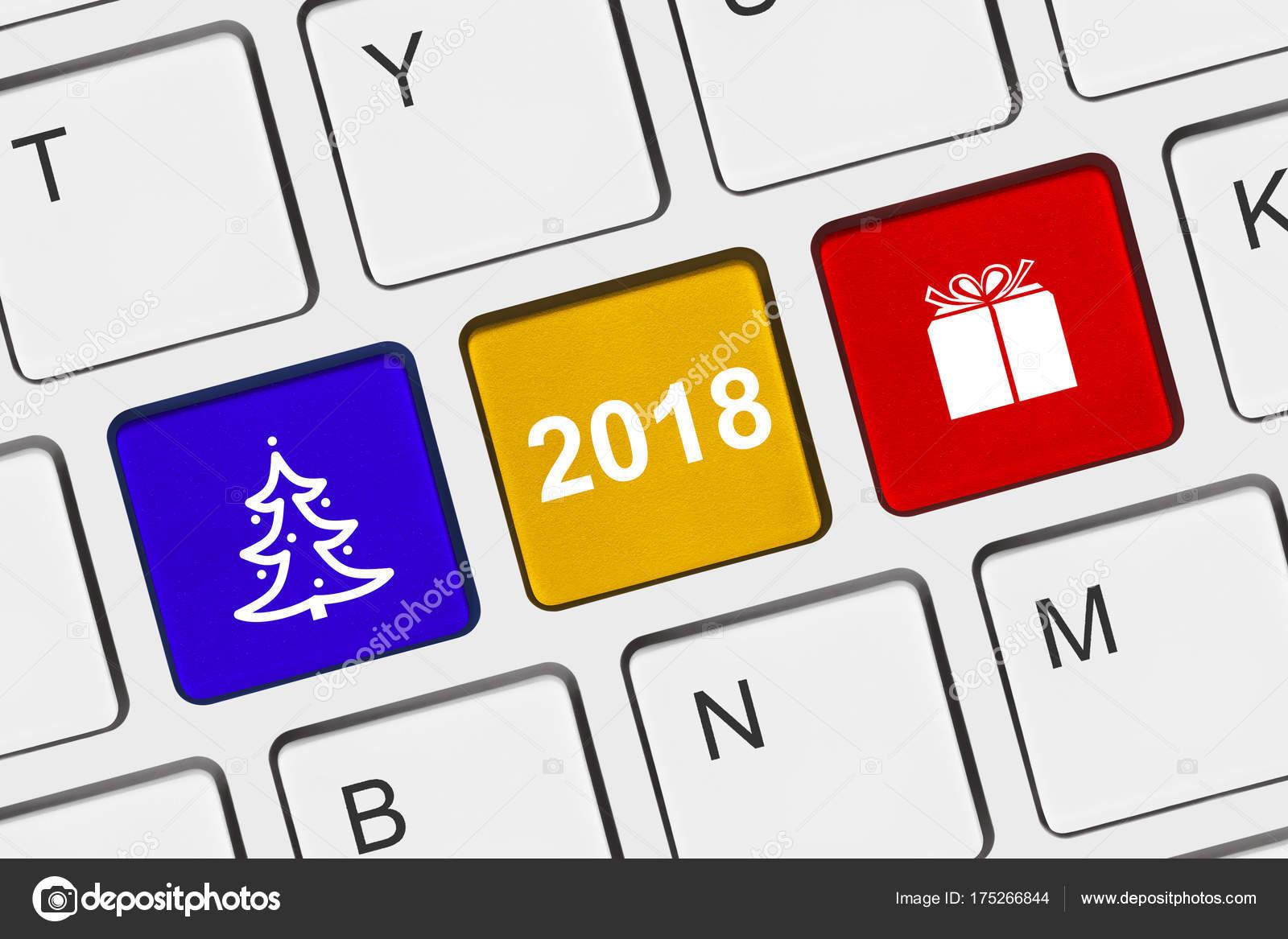Computer keyboard with New Year keys — Stock Photo © Violin #175266844