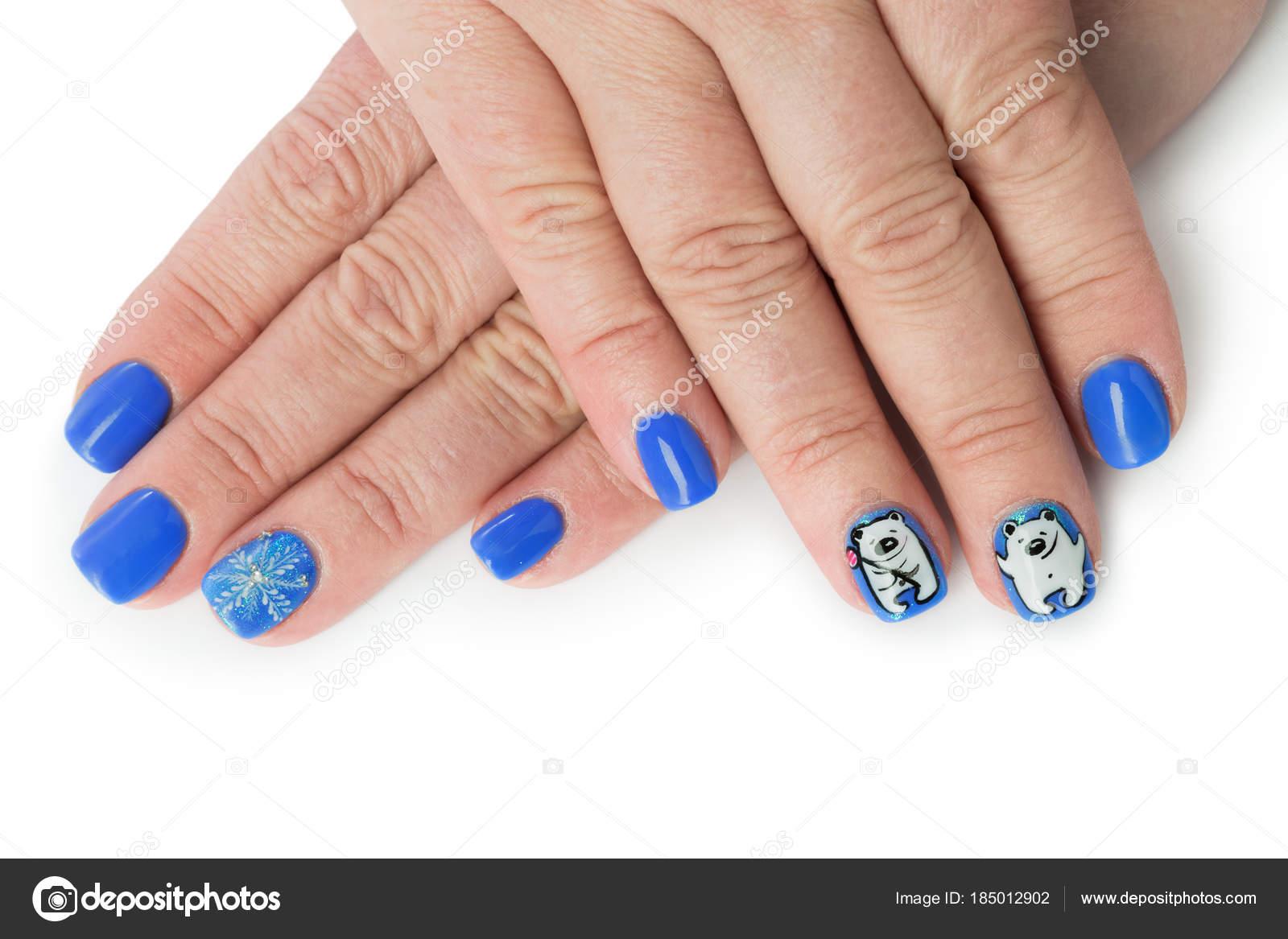 Malerisch Muster Fingernägel Foto Von Fingernagel Mit Winter Isoliert Auf Weißem Hintergrund