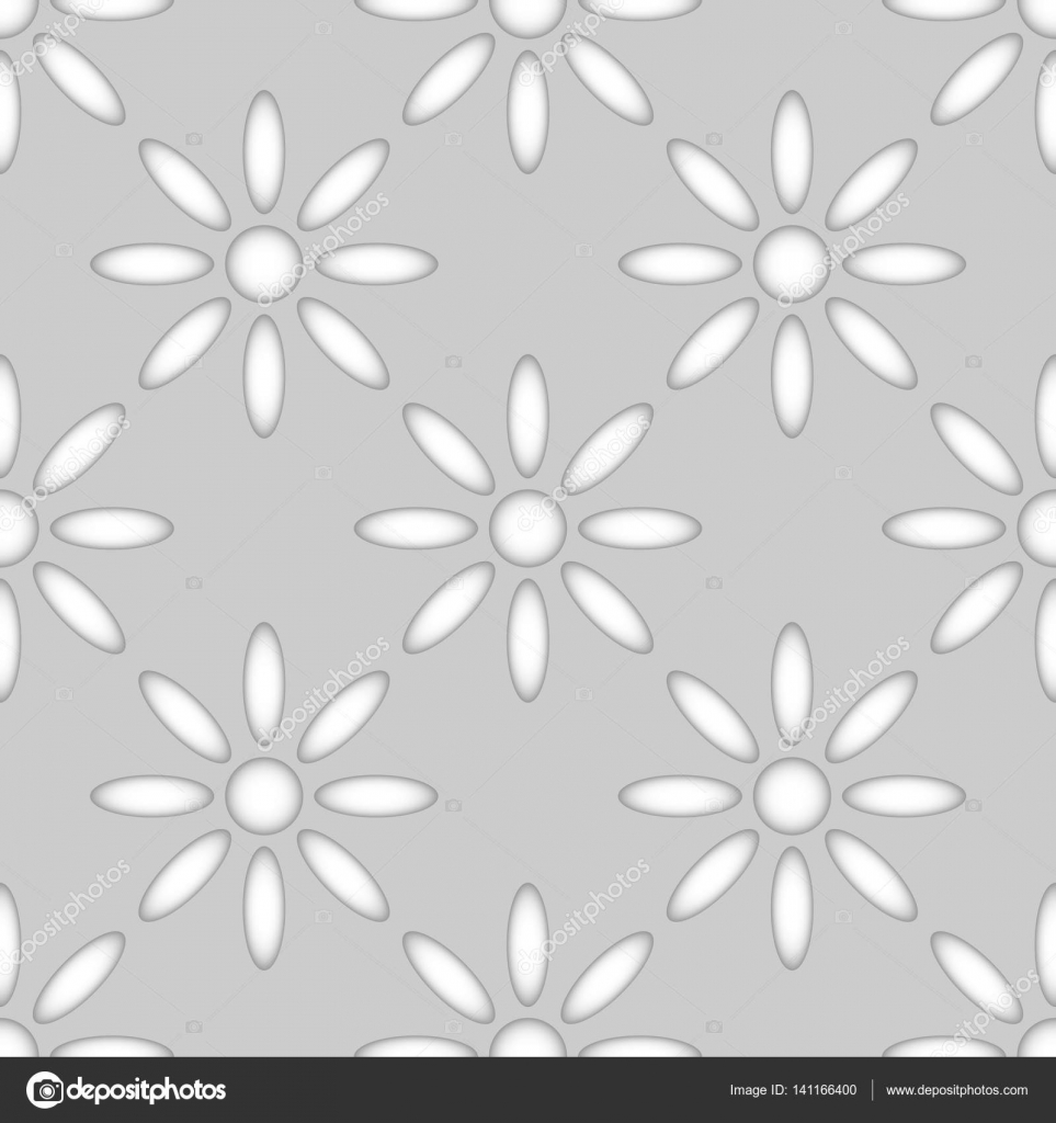 Seamless Abstract Flower Shapes Paper Cut Vector Pattern Stock
