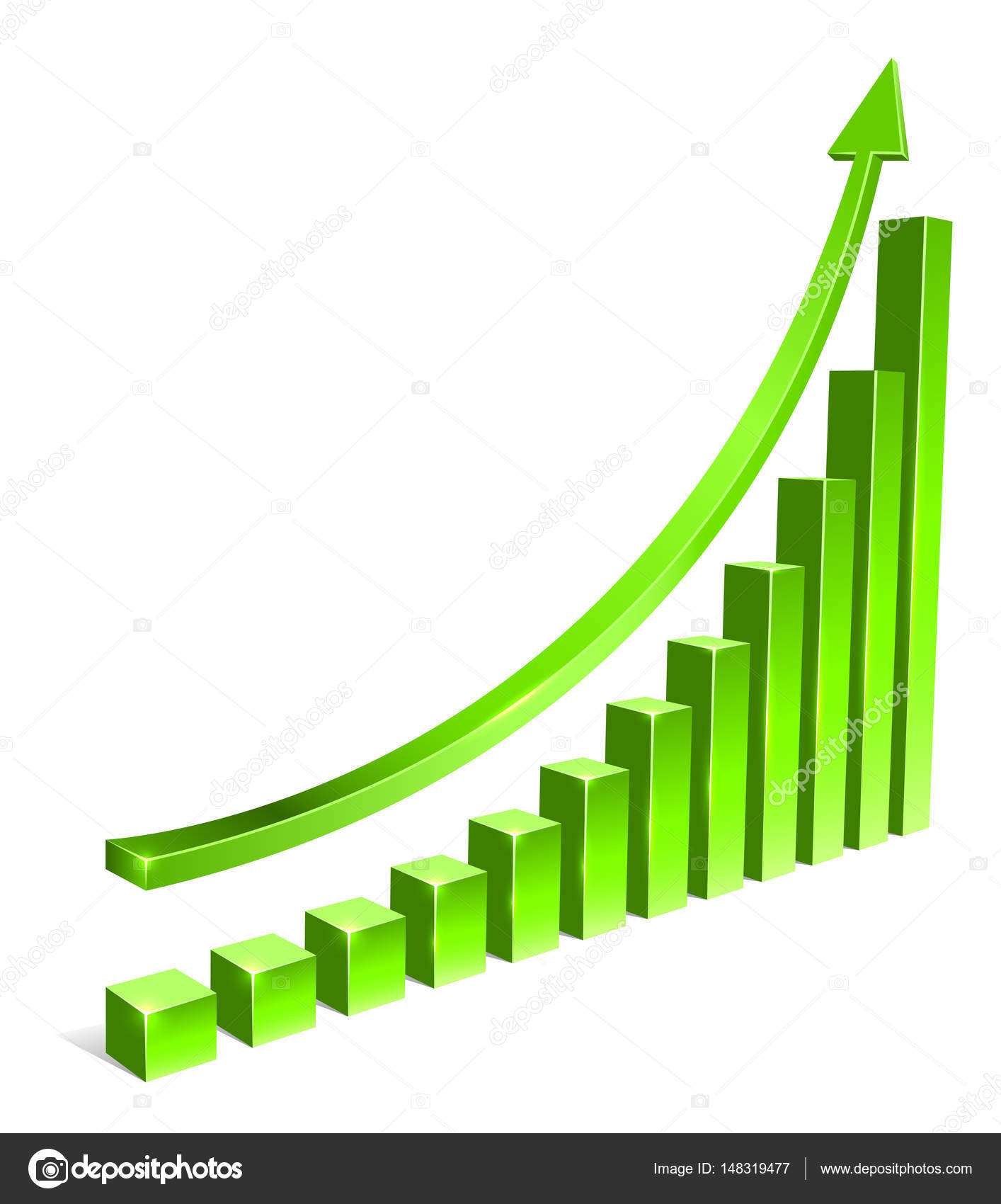 Green Bar Increasing Graph With Arrow Vector Template