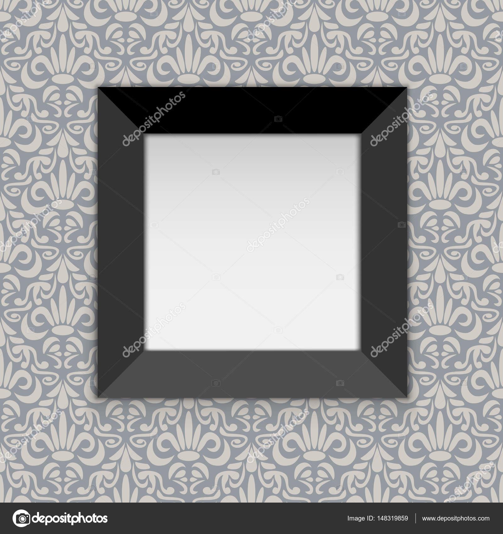 Quadratischen schwarzen Bilderrahmen an der Wand mit weißen Kopie ...