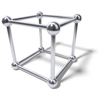 Abstract chrome cube atom cage isolated on white background.
