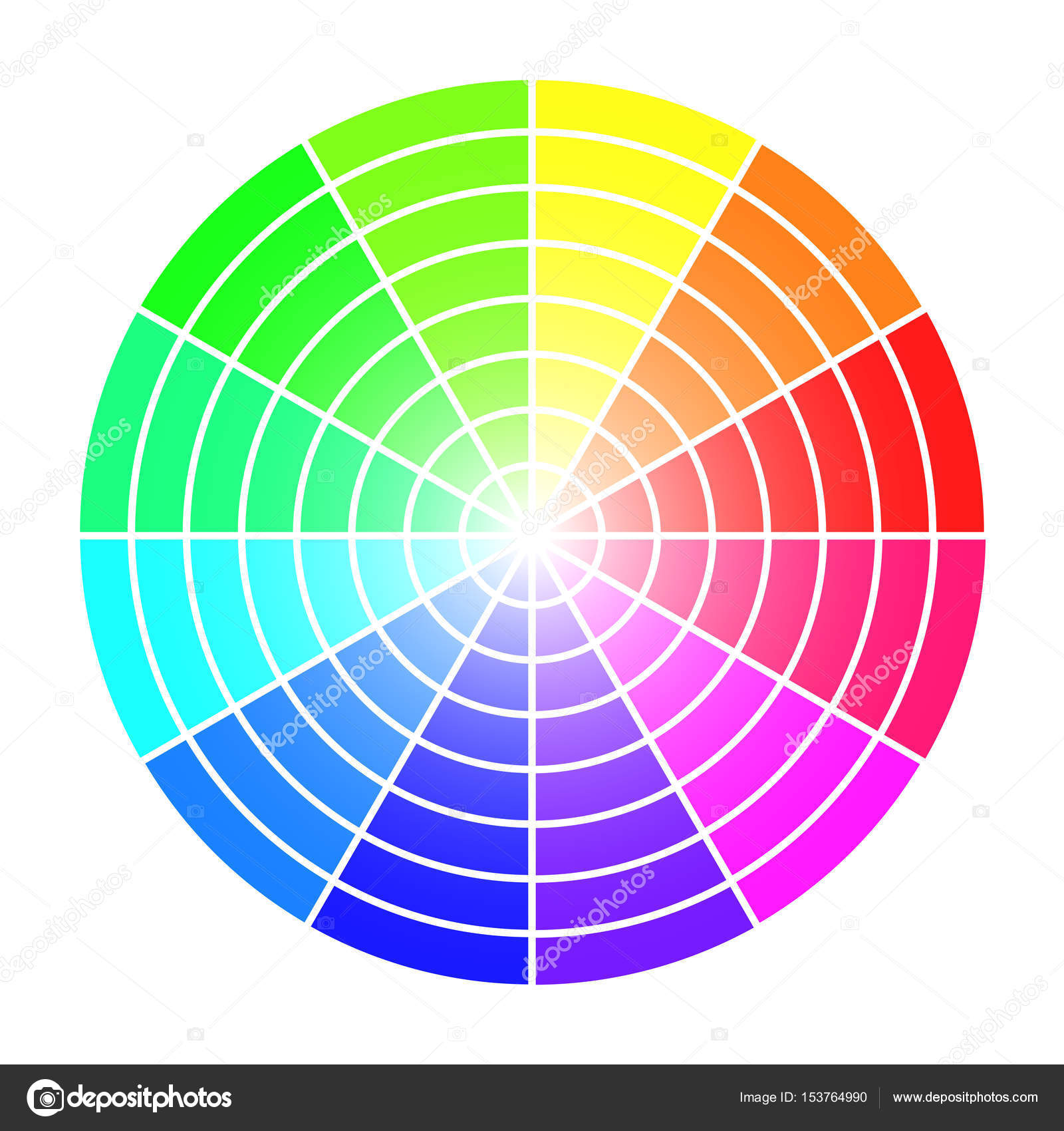 Color Wheel Vector Template Isolated On White Background Stock
